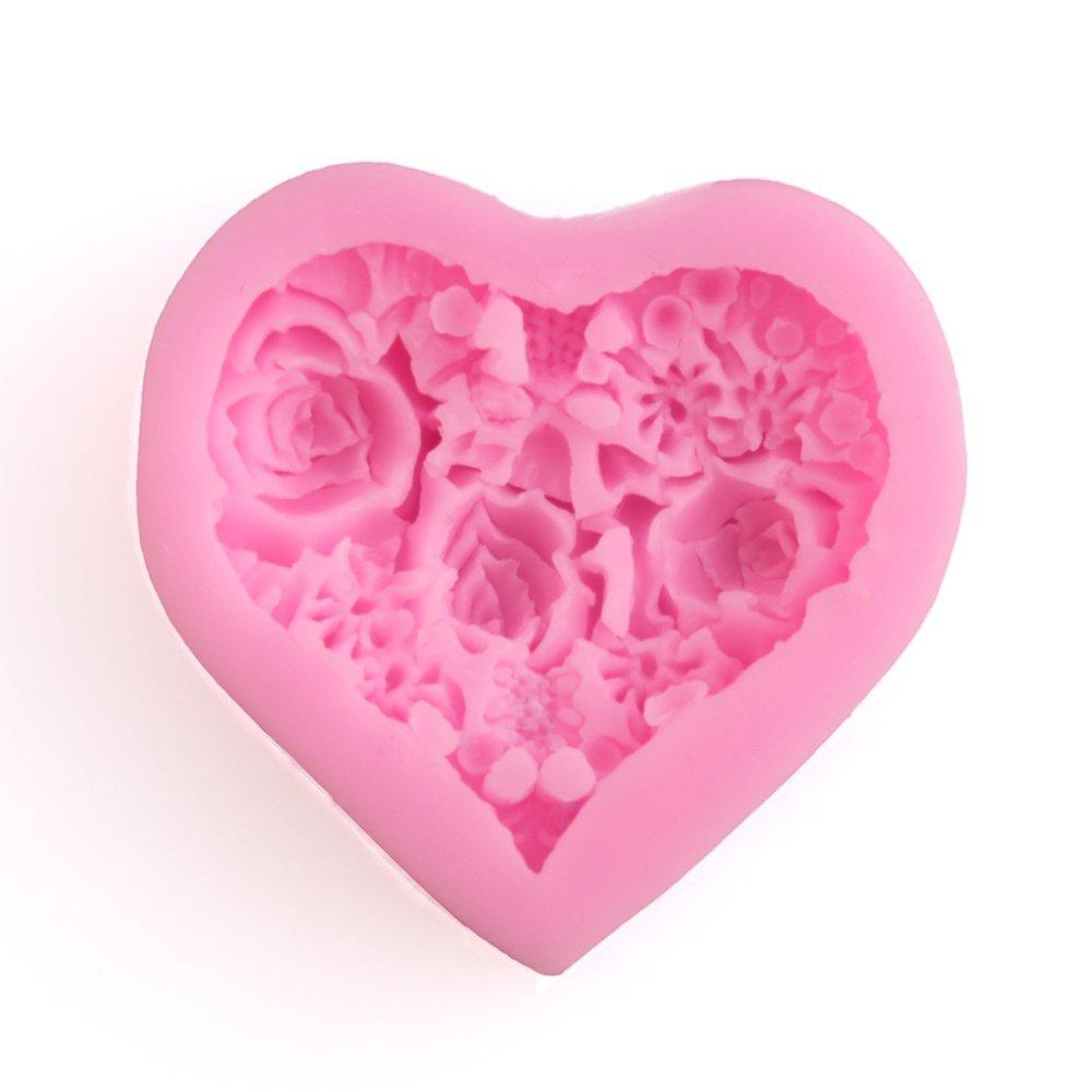 3D Silicone Rose Floral Heart Fondant Shaped Baking Mold Cake Tool Chocolate Candy Cookies Pastry Soap Moulds Cupcake Decorating Molds Pink