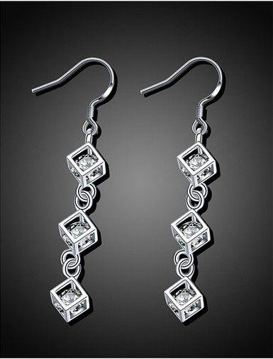 3 Square Box Earrings Bohemian Style Womens Hook Long Tassel Silver Tone Dangle Earrings Rhinstone Hanging Earrings
