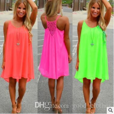 Fashion Women Girl Beach Fluorescence Summer Dress Hollow Back