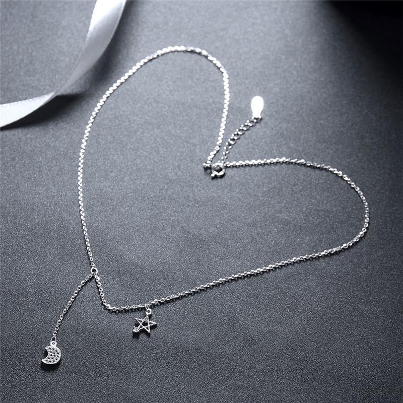 Sterling Silver Moon and Star Charm Clavicle Chain Chocker Necklace with Extender for Women