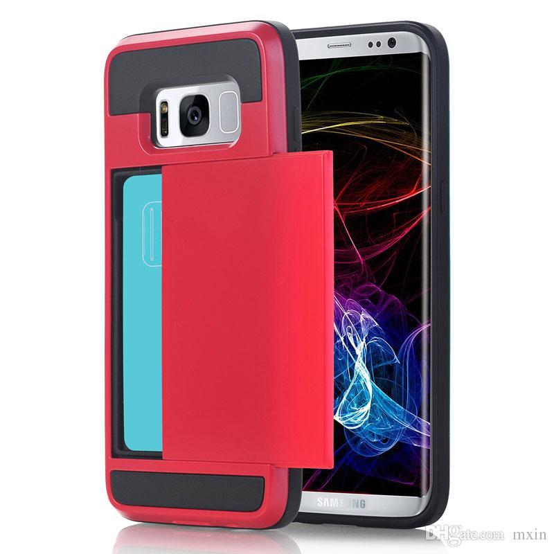 Hybrid Armor TPU PC Wallet Case Slide Card Case For iPhone XS Max XR X 8 7 6 Samsung S6 S7 Edge S8 S9 S10 Plus Note 9 S10E J4 J6 J8 2018