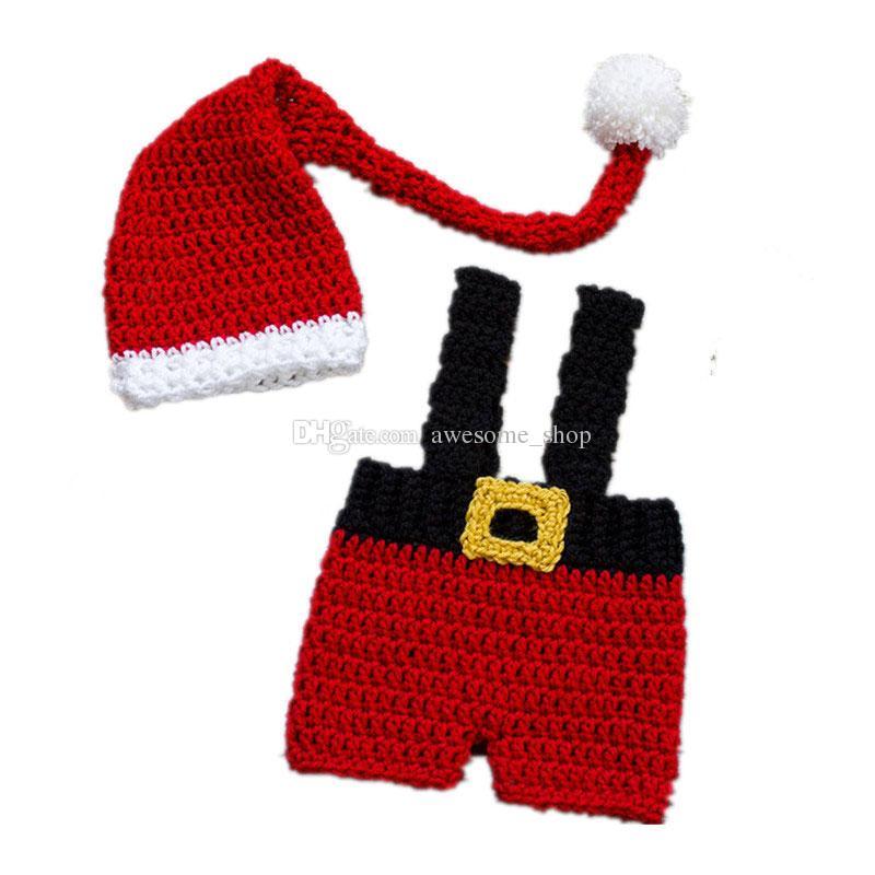 Großhandel Neugeborenen Santa Elf Outfits Handgemachte Häkeln Baby