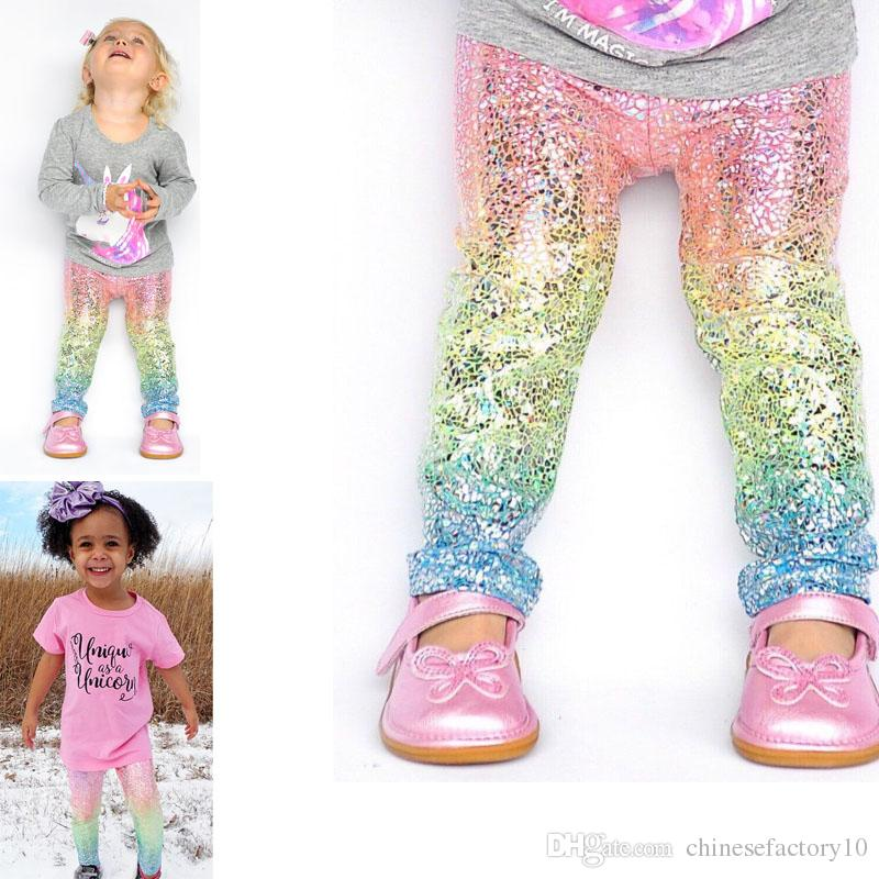 cdd92cff1db76 2019 Baby Girls Mermaid Scale Gradient Leggings Kids Fashion Glossy Scale  Tights Children Long Pants 1 5 Years From Chinesefactory10, $4.3    DHgate.Com