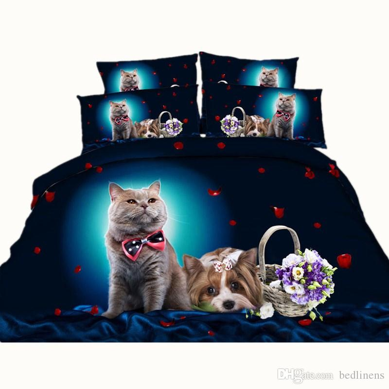 5 Styles White Dog Balloon 3D stampato Set di biancheria da letto Twin Full Queen King Size Biancheria da letto Copriletti Copripiumini Cat Animal Pet 3 / Fiore