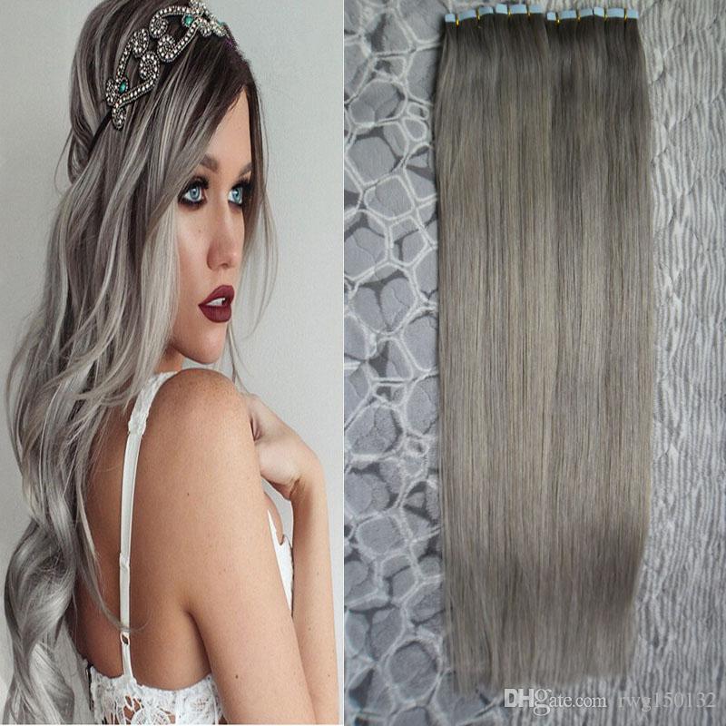 Brazilian virgin straight tape silver human hair extensions 200g 11 pmusecretfo Images