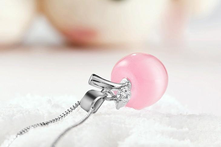 Femmes Collier Cristal plus récent Bijoux Fashion 925 chaîne en argent sterling + cristal pomme opale Pendentif bijoux colliers 2 couleurs