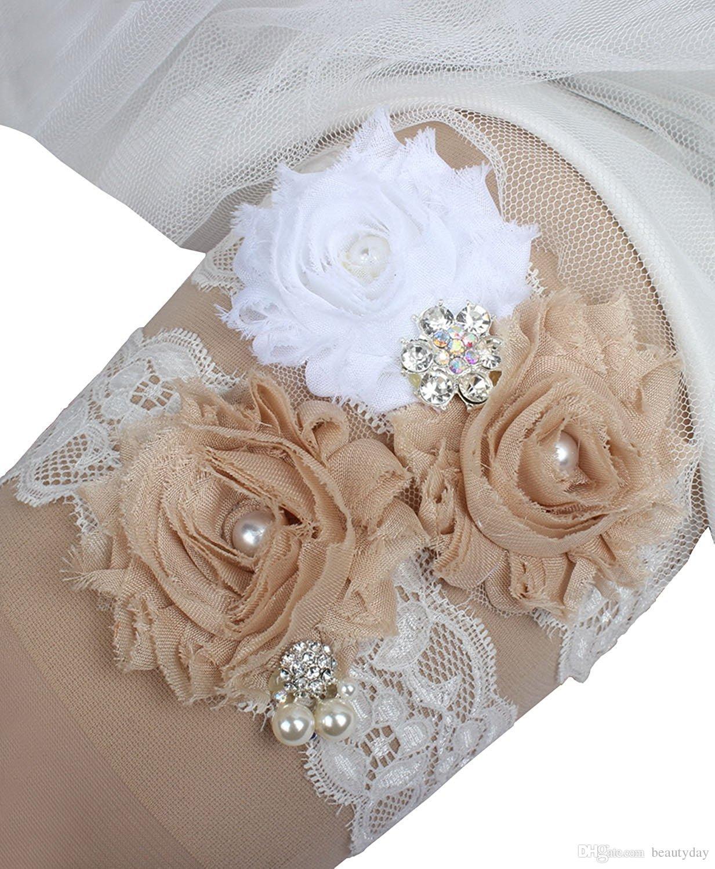 Two Piece Lace Wedding Bridal Garter Set Handmade Flowers