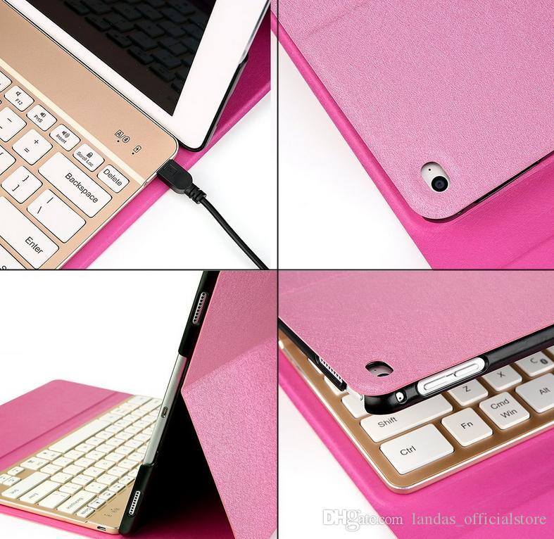 2017 nova rosa para ipad pro 12.9 case com teclado 7 cor retroiluminado bluetooth e smart folio pu leather case 3.0 teclado sem fio