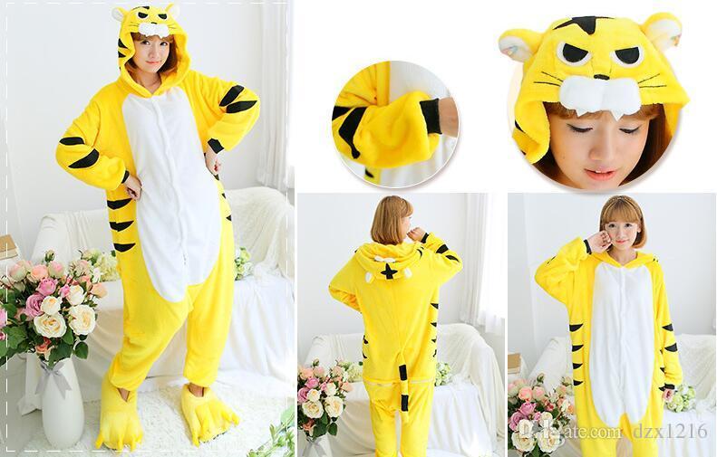 Новый взрослый животных пижамы пижамы косплей желтый тигр onesie пижамы