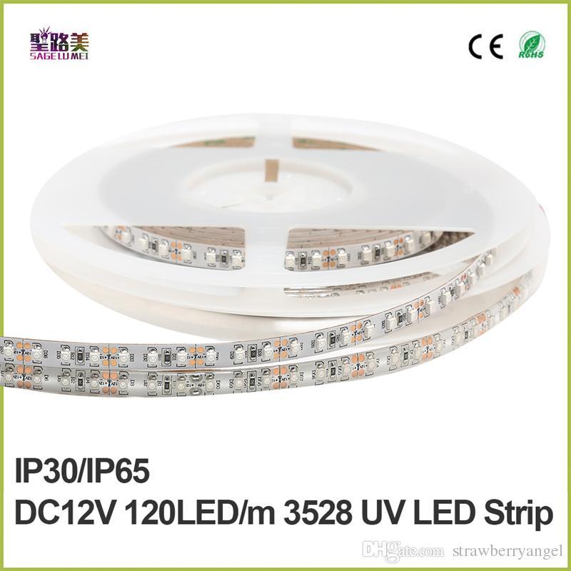 UV Mor Led Şerit Işık 5050 SMD 120led / m 600 leds DC 12 V su geçirmez beyaz pcb 395-405nm Ultraviyole Ray esnek LED Şerit bant şerit