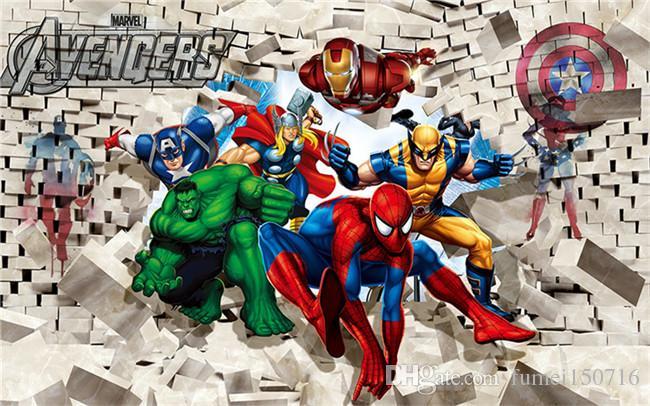 Sanat Duvar Stickers Boyama Özel Fotoğraf Duvar Kağıdı Avenger Birliği Hulk Spiderman 3D Stereoskopik Tuğla Duvar Arkaplan