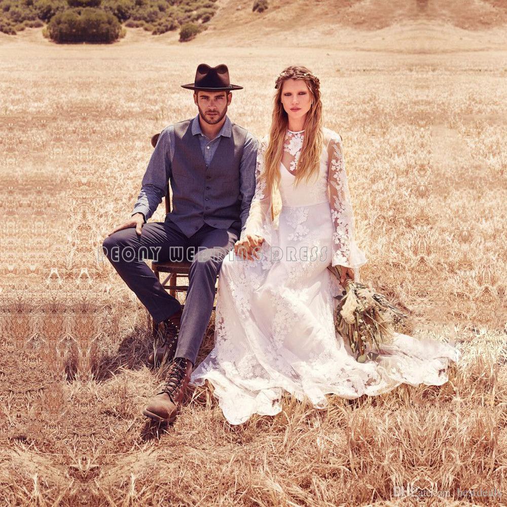 Vintage Bohemian Lace Wedding Dresses 2020 Long Sleeve Illusion Country Beach Wedding Dress Cheap Bridal Dresses Wedding Gowns