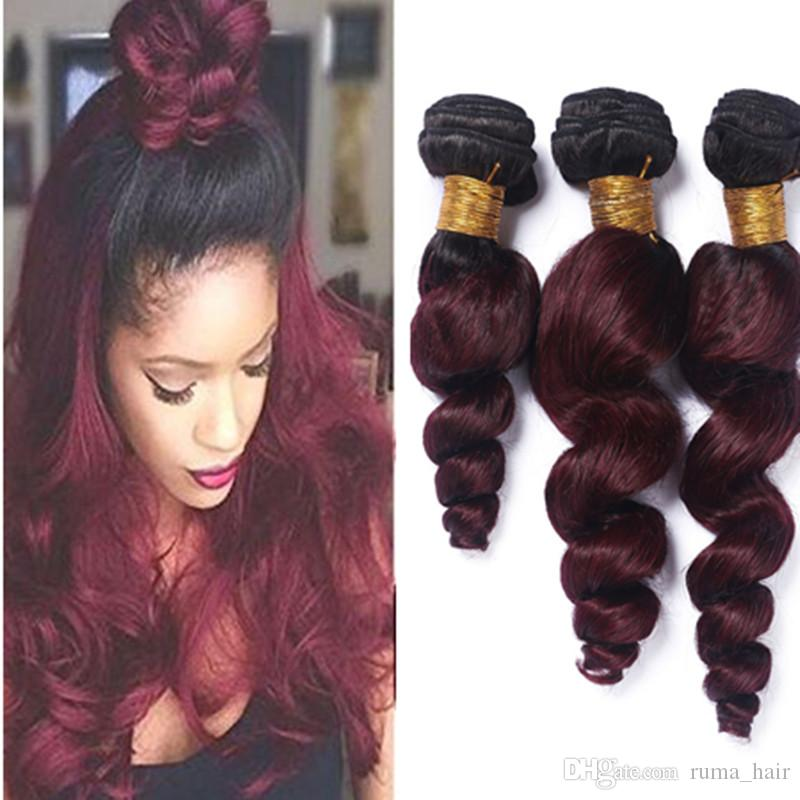2018 ombre weave hair bundle two tone color 1b 99j burgundy wine 2018 ombre weave hair bundle two tone color 1b 99j burgundy wine red unprocessed loose wave brazilian peruvian indian ombre human hair extension from pmusecretfo Choice Image