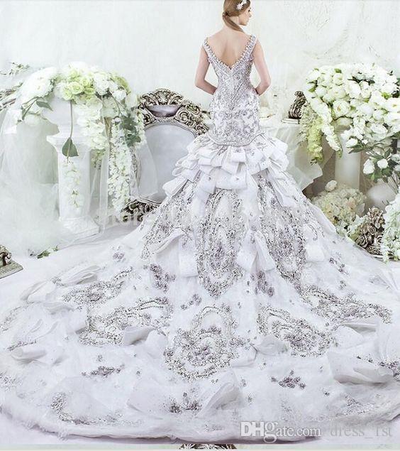 Luxury 2016 Dar Sara 크리스탈 구슬 장식 조각 레이스 인 어 공주 웨딩 드레스 특종 채플 트레인 신부 드레스 사용자 지정 만든 중국 EN12121
