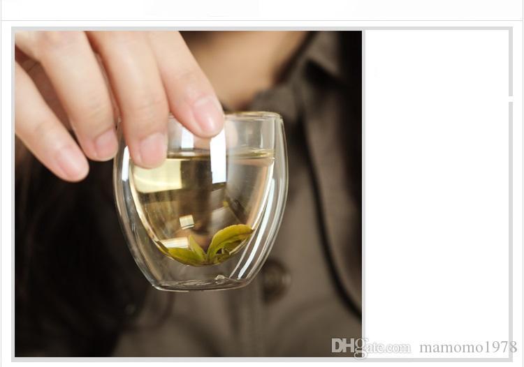 10 pçs / lote 80 ML resistente ao calor de vidro xícaras de chá de dupla camada de café 4 pçs / lote 100% artesanal venda quente G0062