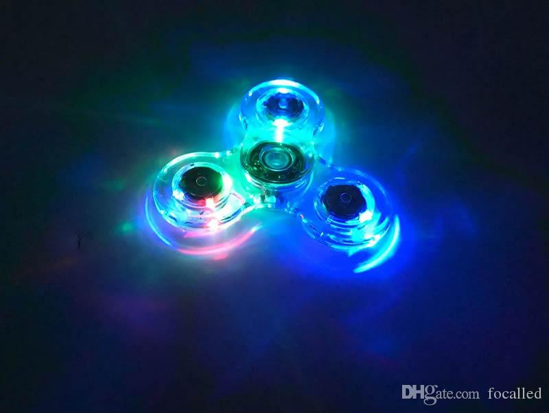 Luminous Glitter Jelly Crystal TriSpinner Colorful Clear Led Fidget Spinner With Lamp Rotating Gyro Finger Toy Independent Switch Light up