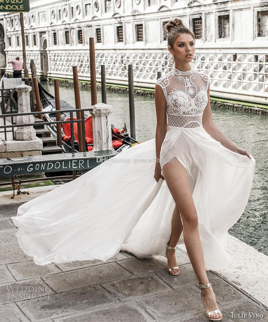 Großhandel Fließende Rock Romantische Sexy Split Brautkleider 2018 ...