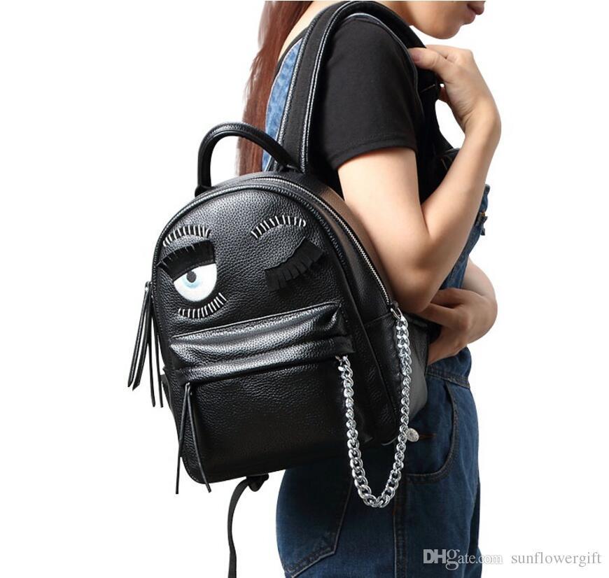 77d9e4b15409 High Quality Cute Women Backpack PU Leather Wink Blink Eye Luxury ...