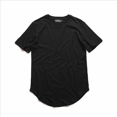 Curvo Hem Hip Hop T-shirt Dos Homens Urban Kpop Prolongado T camisa Liso Longline Mens T Camisas Roupas Masculinas