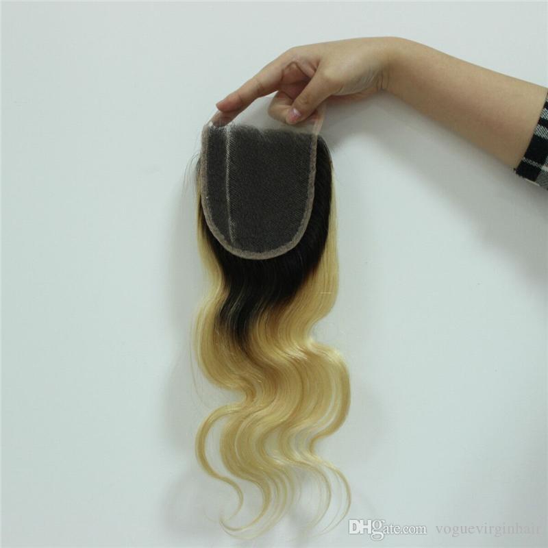 1b 613 Two Tone Lace Closure Brazilian Body Wave 8A Grade Peruvian Indian Malaysian Virgin Human Hair Ombre Top Closure 4*4