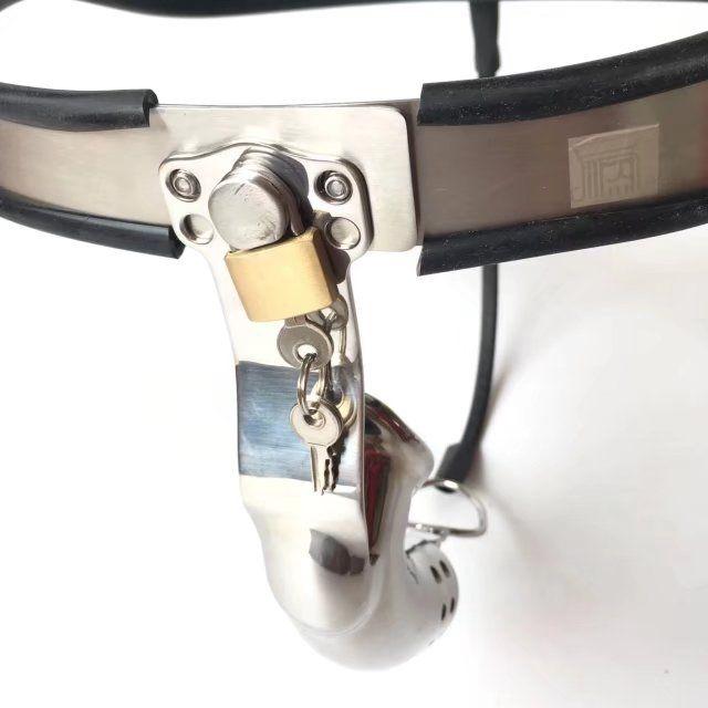2018 Male T Super Ergonomics Adjustable Stainless Steel Curve Waistbelt Chastity Belt Ventilate Cock Penis Cage Defecate Hole BDSM Sex Toy