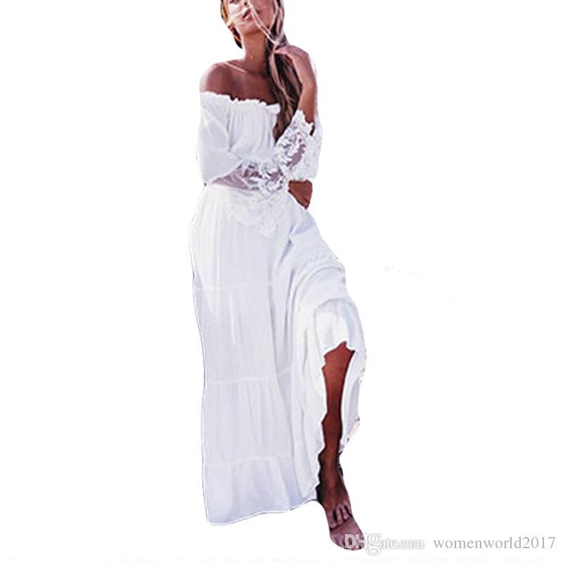 Abito lungo bianco con maniche lunghe in pizzo a maniche lunghe in rappezzatura sexy con maniche lunghe in pizzo