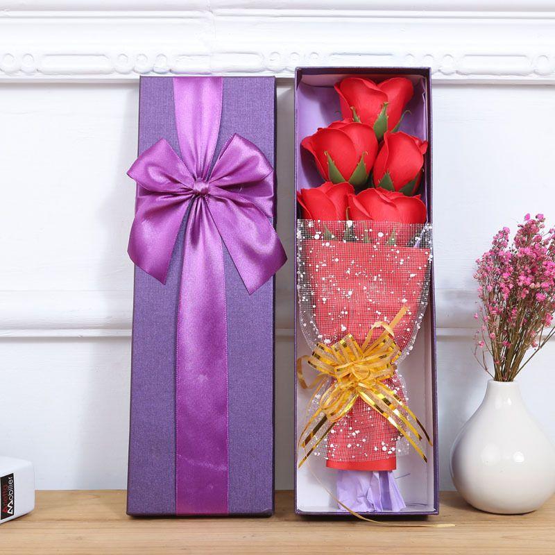 Künstliche Seife Rosen mit kleinen süßen Teddybären zarte Box fünf unsterbliche Blume oder drei Blumen und Bär 8 8 Stunden F R