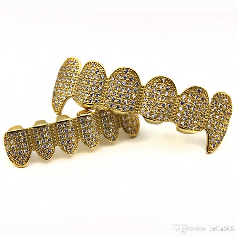 New Custom Fit Gold Plated Full High Grade Exclusive Luxury Cubic Zircon Top & Bottom Gold Grillz Set Vampire Classic Teeth for Women Men