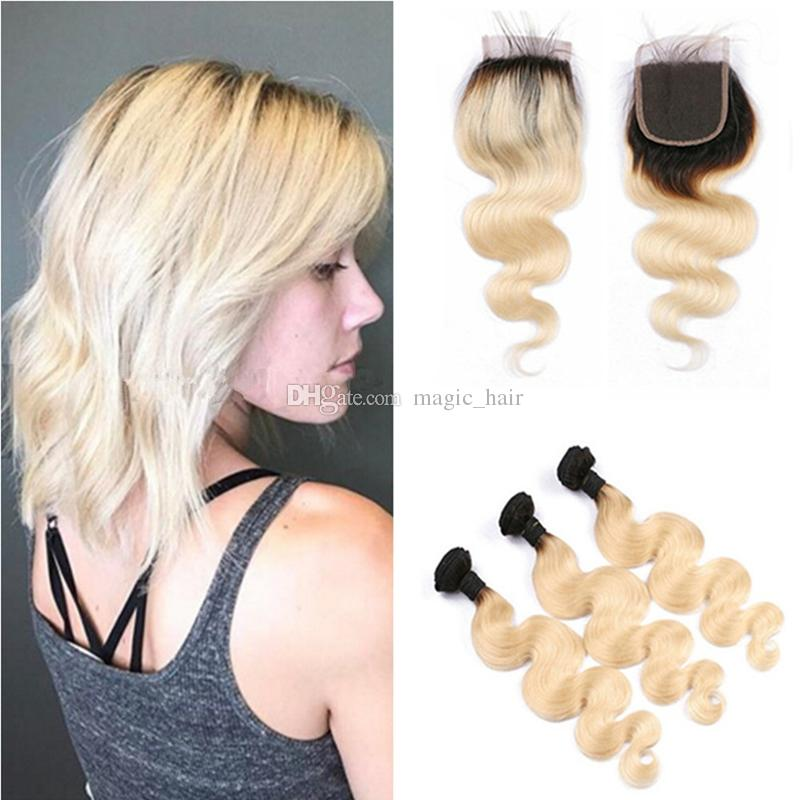9a Ombre Hair Extensions 1613 Blonde Ombre Dark Root Human Hair