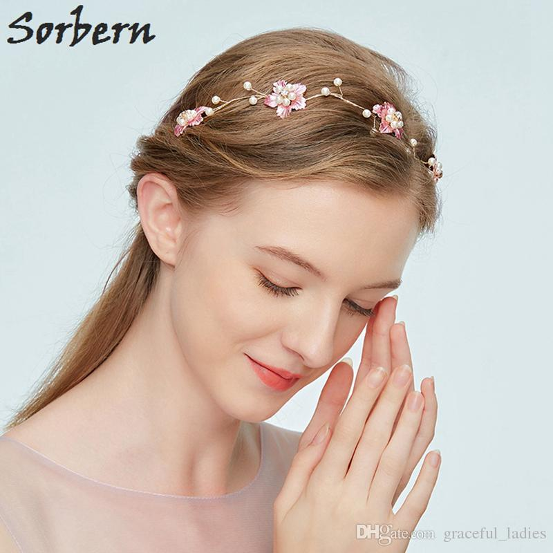 Sorbern Pure Handmade Bridal Headpiece Wedding Hair Accessory Hair Vine Bridesmaid Pink Flower Pearl Embellishment Hair Vine Women Headpiece