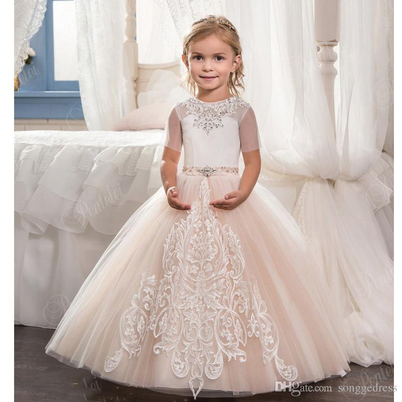2018 Ball Gown Flower Girls Dresses For Wedding Short Sleeve Lace ...