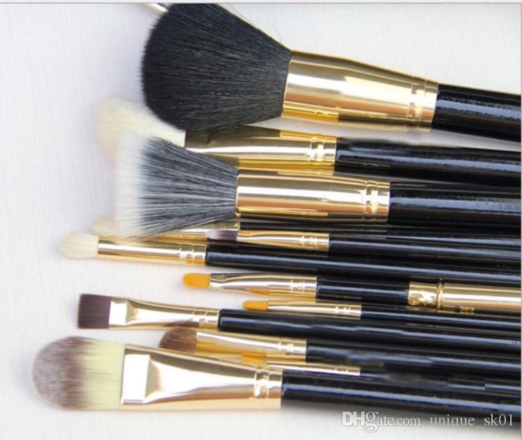 Direct Sale M Brush Set Makeup brushes with Portable Luxury Leather Bag Pink Black Colors Cosmetic Powder Brushes DHL Free