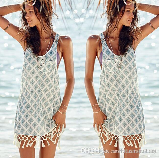 7741f75e08 2019 Fashion Swimwear Cover Ups Summer Dress Bikini Swimsuit Cover Up Beach  Blouse Shirts Sexy Women Bathing Suit Tassel Crochet Vest Free DHL From ...