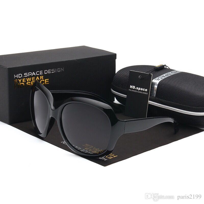 Vendite calde i Donne Ladies Fashion Occhiali da sole Summer High Quality Black Occhiali da sole UV PC di grandi dimensioni