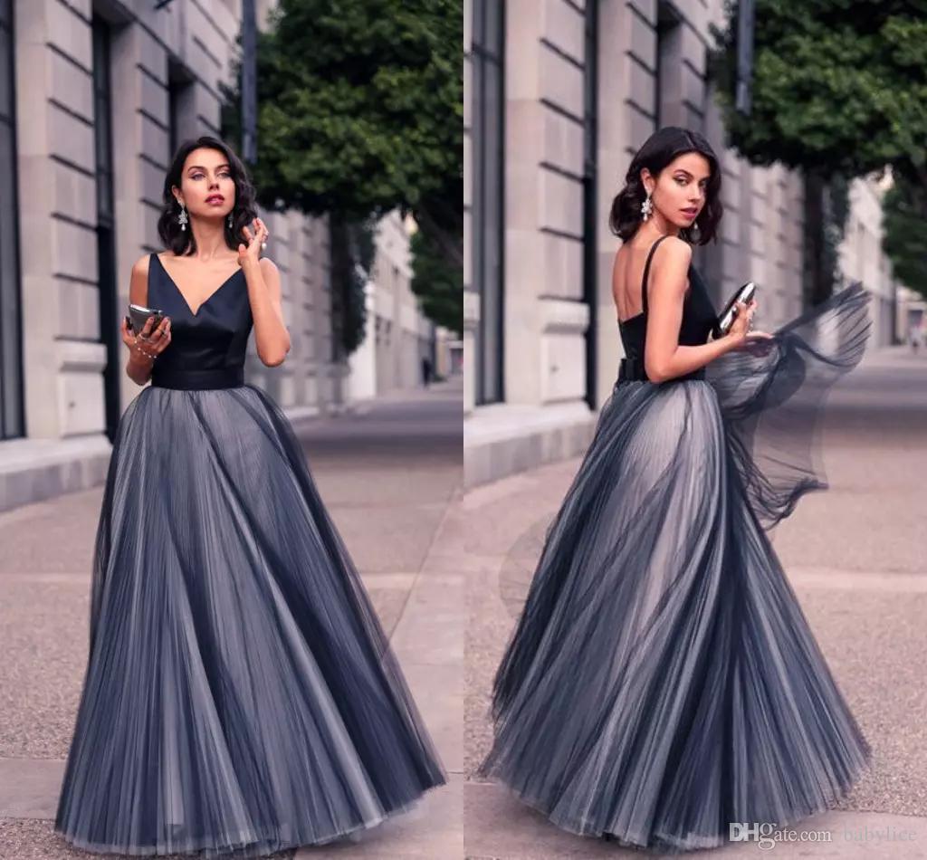 Formal Black Tulle Elegant Evening Dresses Satin Spaghetti Straps ...
