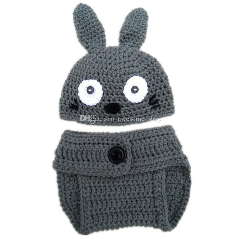 My Neighbor Totoro Newborn Costume,Handmade Knit Crochet Baby Boy Girl Anime Animal Beanie Hat and Diaper Cover Set,Toddler Photo Prop