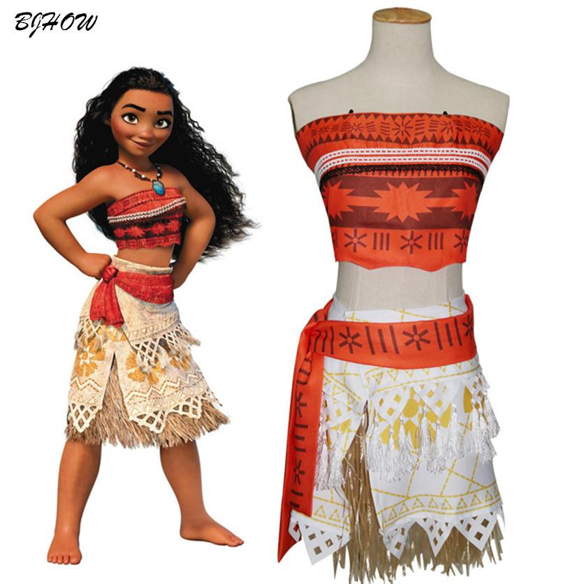 moving moana costume kids girl 2017 sexy princess moana halloween costume for cosplay kids adult women girl party dress halloween costumes 1980s theme adult - 2017 Halloween Themes