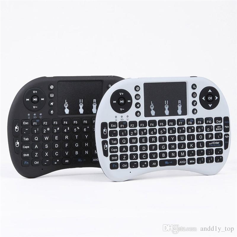 Mini Rii i8 Clavier Sans Fil 2.4G Anglais Air Souris Clavier Télécommande Touchpad pour Smart Android TV Box Ordinateur Portable Tablet Pc