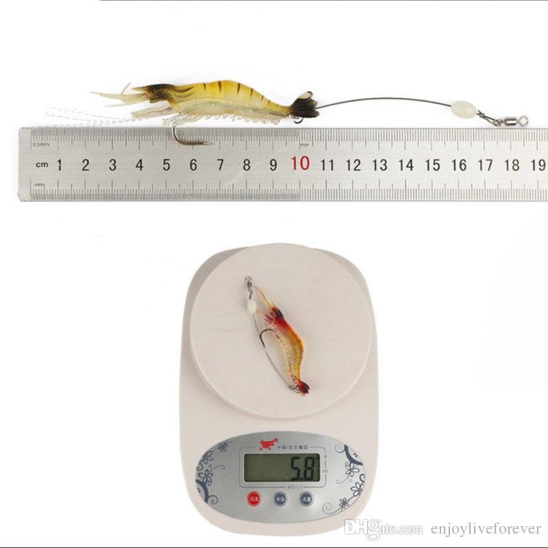 Lifelike Fishing Lure 6.4g Sea Bionic Shrimp Soft Bait Fishing Tackle 9.5cm Noctilucent Luminous Prawn Fishing Baits with Hook