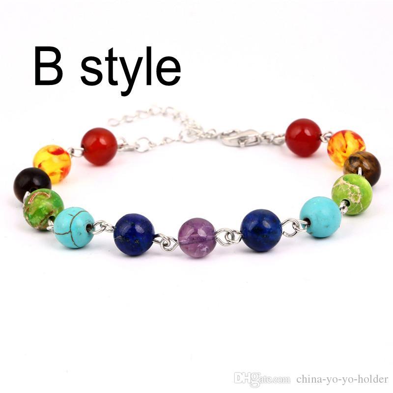Hot Selling Unisex Chakra Healing Bracelets With Real Stones Mala Meditation Bracelet Stone Bracelets 8 Mm ful Beads B123S
