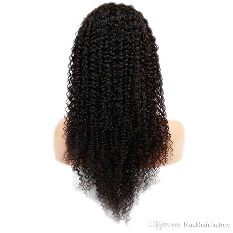 8A 100% Peruvian Virign Human Hair 10-30inch STOCK Kinky Curly African American Glueless Full Lace Wig & Front Lace Wig