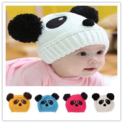 c4e0a61c4815d Warm Toddlers Baby Kids Cartoon Panda Ball Knitted Crochet Beanie ...