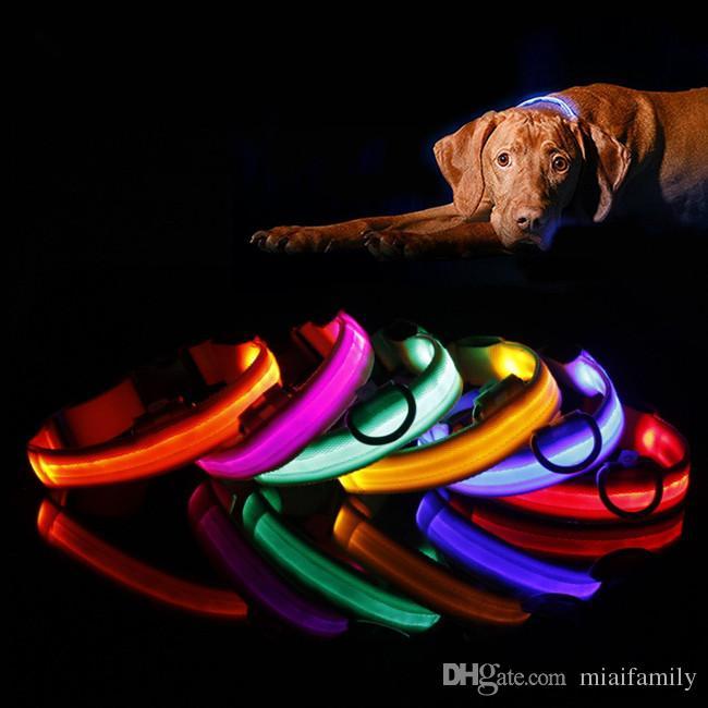 LED Flash Collars Dog Cat Collars Flashlights Dibo America Huskies Teddy Large Dog Collars S M L XL Emitting LED Pet Supplies DHL free