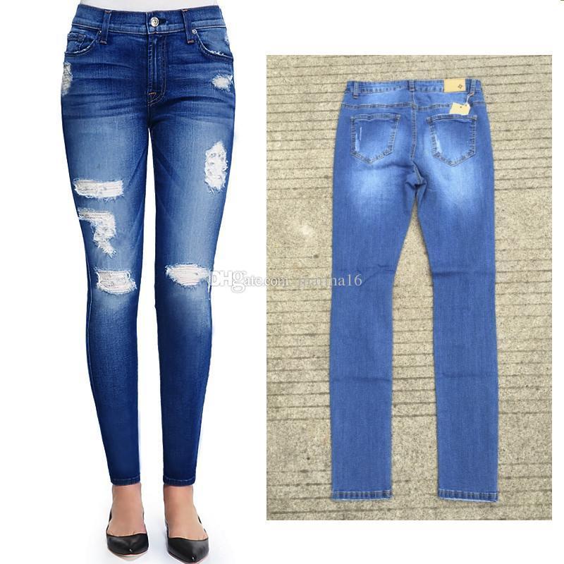 giovane ragazza casual jeans legging pantaloni denim stretch vendita calda pantaloni jeans strada buchi strappati moda