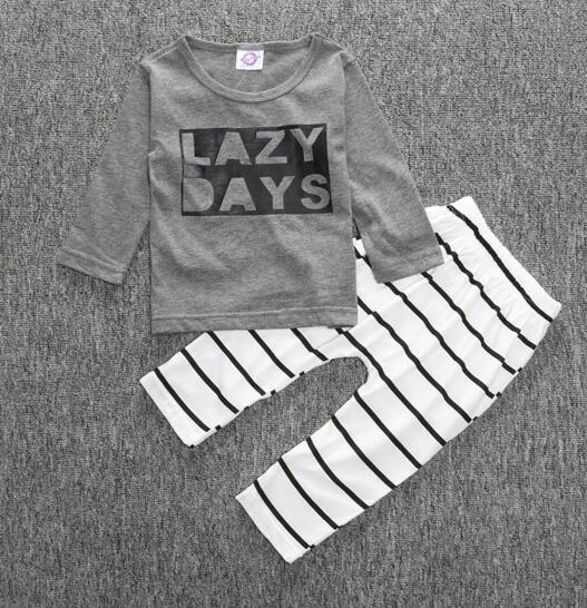 Children INS Baby Boys Girls Letter Sets Top T-shirt+Pants Kids Set Infant Casual Long Sleeve Suits Spring Children Outfits Clothing Gift