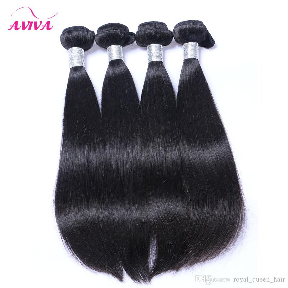 8A Brazilian Straight Virgin Human Hair Weaves Bundles Unprocessed Peruvian Indian Malaysian Cambodian Mongolian Mink Hair Natural Black 1B