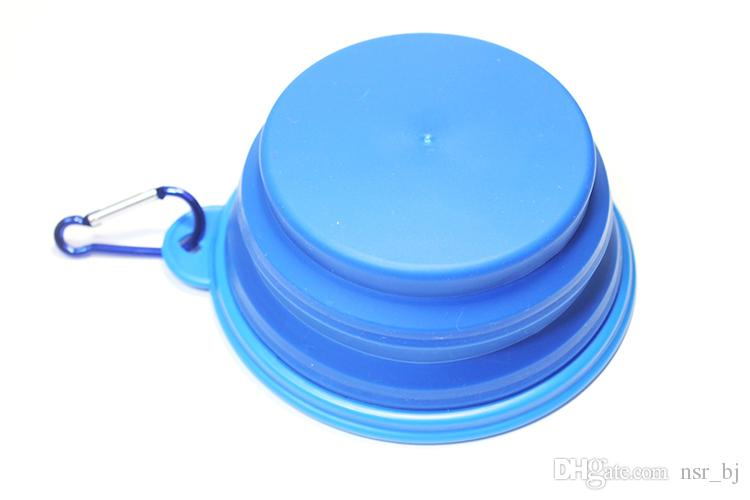 Blue Pet Collapsible Portable Silicone Travel Bowl Durable Non-porous Materials Dog Cat Puppy Feeding and Watering Bowl with Carabiner