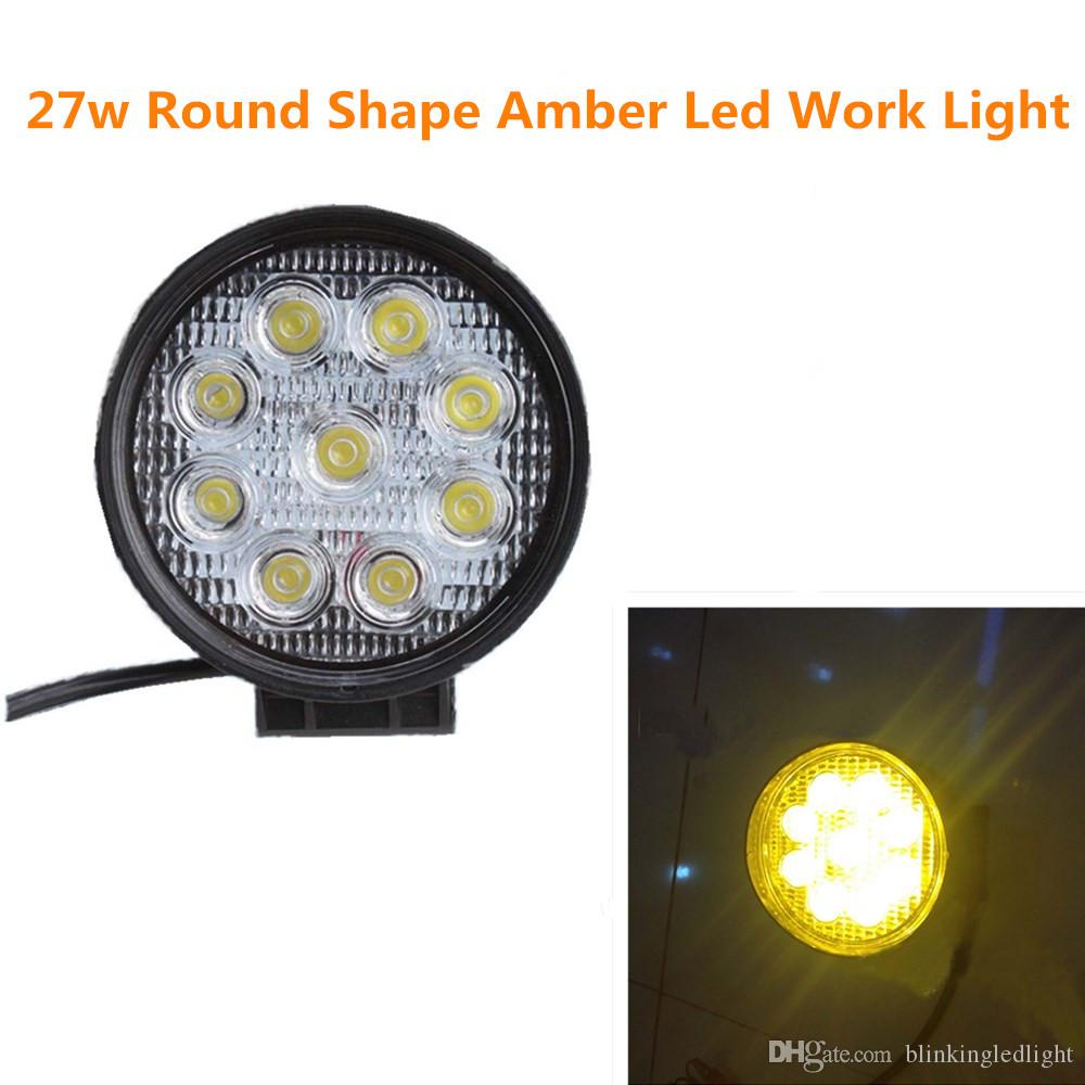 4 inch 27w round amber led work ligh 10 30v spot flood fog light for indicators motorcycle driving offroad boat car tract truck 4x4 suv atv work lights led