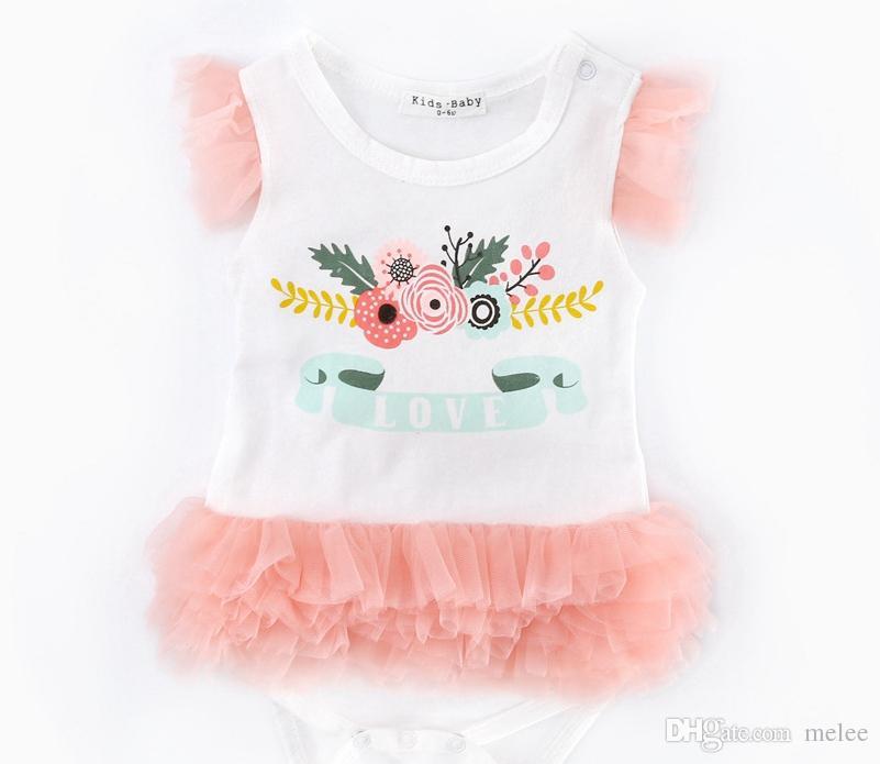 6a0e80a886bc Satın Al Pamuk Kızlar Tutu Romper Elbiseler Kız Tulum Bebek Kek Elbise Kız  Dantel Elbise Katmanlı Elbise 0 2years