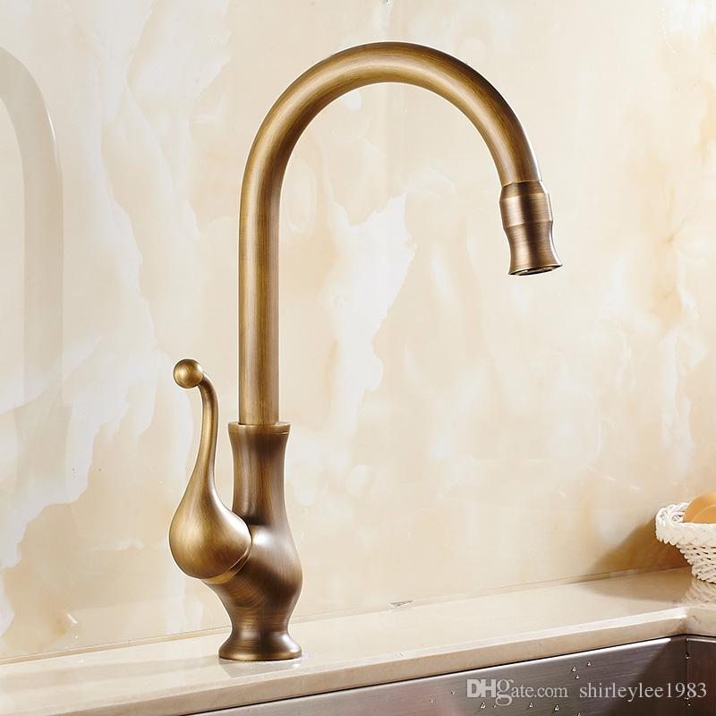 2018 Antique Brass Kitchen Faucet Single Handle Hot And Cold Water Mixer  Tap Kitchen Sink Tap 360 Swivel Spout Stylish Faucet Mixers For Kitchen  From ...
